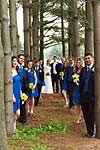 Wedding photograph of a wedding party in the trees at Flamborough Hills Golf Club